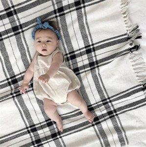 INS Designer Summer Infant ragazze dei neonati pagliaccetti vuote con le fasce 2pcs Set Solid Cotone Lino morbido Qualità Newborn tute Onesie
