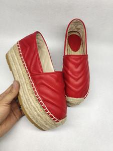 New Chevron Leder espadrille Doppelbuchstabe der Frauen 5.5cm Fischer Schuhe Luxus-Designer-Mode Sandalen Plattform Lederschuhe verdicken