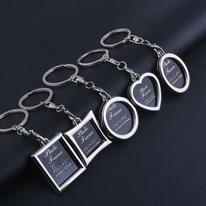 Photo Frame Round Herz Apple-Oval Rhombus Form Metall-Legierung Schlüsselanhänger Schlüsselanhänger Schlüsselanhänger Autoanhänger Paare Schlüsselanhänger Geschenk