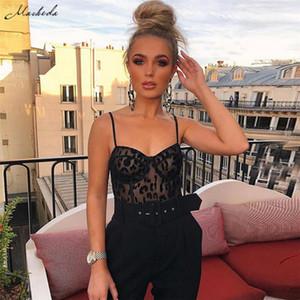 Black Lace sexy della maglia delle tute senza maniche Backless Sling Prospettiva Tracolla Womens Jumpsuit corpo JumpsuitsNew S-L
