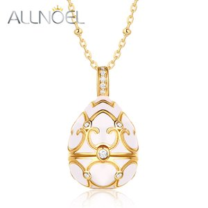 ALLNOEL 2019 Sweater Chain Long Necklace Costume Jewelry 925 Sterling Silver Enamel Ggg Pearl Cage Locket Pendant White Zircon