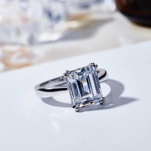 2020 series principios de la primavera solo anillo de diamantes S925 plateado joyería de moda corte esmeralda de 18 quilates de oro de las mujeres