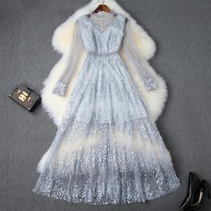 2019 Yaz Zarif Mavi Uzun Kollu Mürettebat Boyun Romantik Çiçek Baskı Mesh Nakış Boncuk Uzun Elbise Günlük Elbiseler 71115T10022