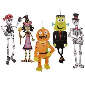 Karton Cadılar Bayramı DIY Kafatası kolye Cadılar Bayramı Kabak Drop Süsler Cadılar Bayramı Parti Süsleri Ev Dekorasyonu Parti Malzemeleri