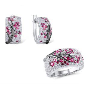 Luxury Silver Цвет сливы цветы дерева Branch завод Pattern серег Blossom Асфальтовая Красный Зеленый Rhinestone серьги Z3E782