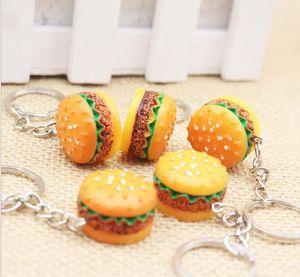 Bonito Hamburger Keychain Simulação Food Hamburger Pingente Anel Chave Novidade Chaveiro Presente de Aniversário de Natal