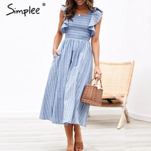 Simplee listrado do vintage mulheres longo dress ruffle manga linho azul vestidos elegantes casual ruched moda feminina vestidos 2019