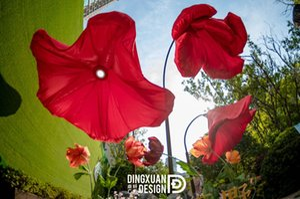 3m fleurs rouge respiration gonflable Hanging fleurs rouges gonflables pour centre commercial décoration parc fleur partie gonflable
