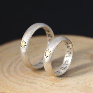 Reais de 925 anéis de prata esterlina para mulheres Homens Um metro sol Budismo Seis palavras texto auspicioso elegante anel de prata S925