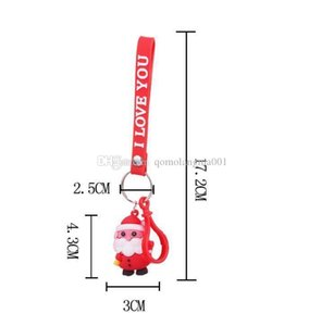 A Christmas Keychain Gift 3d Santas Santa Key Chains Merry Christmas Women &#039 ;S Bag &Car Pendant Handbag Key Ring Party Favor