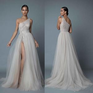 2021 Sexy Eine Schulter Strand Brautkleider Spitze Appliqued Perlen Eine Linie Side Split Brautkleider plus Größe Vestido de Novia