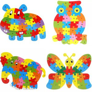 Cute Animal Alphabet Jigsaw For Children Early childhood education puzzle cartoon animal 26 letter puzzle board wooden puzzle toy Z1116