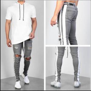 Erkek Tasarımcı Kalem Jeans Grey Moda Erkek Tasarımcı Skinny Jeans Fermuar Erkekler Kasetli Pants ile Dietrressed Pantolon Ripped Yıkanmış
