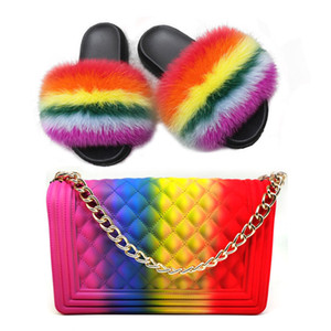 Hot estate delle donne Pelliccia Pantofole Colorful Jelly Bag lanuginosa sveglia pantofole Moda Furry diapositive peluche Slipper Imposta Fur Slides