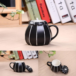 Ceramic mugs with lid creative color tea cups Halloween Thanksgiving day pumpkin Cup Gift for family Dinner 4 styles LXL410-A
