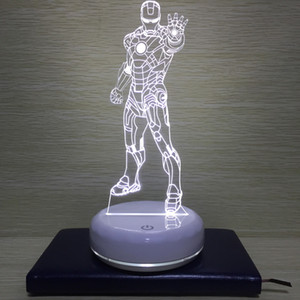 3D Iron Man LED Night Light Desk Lamp USB telecomando Camera Lampada da comodino per i bambini regalo di compleanno