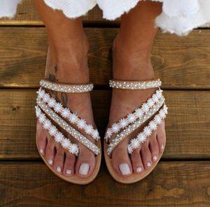 2020 Summer new ladies cross slippers thin belt pearl sandals wild open toe thick heel flat
