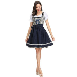 MISSKY Women Flower Pattern Oktoberfest Dirndl Dress Costume Beer Festival Dress Suit Female Clothes