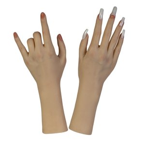 2Pcs Flexible Soft Plastic Flectional Mannequin Model Fake Hand for Nail Art Practice - Just Like A Real Human Skin(Female)