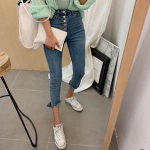 Women Autumn Elastic Hole Denim Casual Small Feet Cropped Jeans Stretch High Waist Jeans design