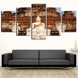 5 Paneles escénico Fotos Canvas Art Pared Buda blanco Pinturas Giclee on Canvas Prints y Posters Aceite Paintngs ilustraciones