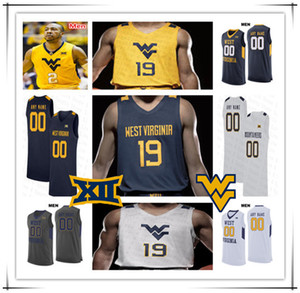 2020 NCAA Basketball West Virginia Mountaineers Custom Oscar Tshiebwe Derek Culver Jermaine Haley Miles McBride Osabuohien WVU Jersey 4XL