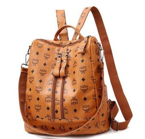 Mulheres Moda PU Backpack Meninas macio Couro impresso Shoulder Bag Ladies grande moda bagpacks do sexo feminino para a escola Adolescente Brown