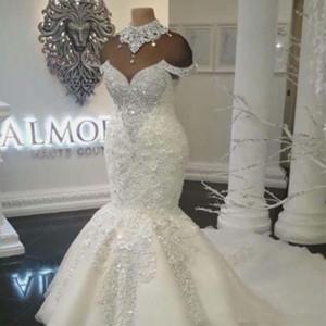 2020 новый дизайнер роскошные Дубай арабский Русалка свадебные платья плюс размер бисероплетение кристаллы суд поезд свадебное платье Свадебные платья BA8274