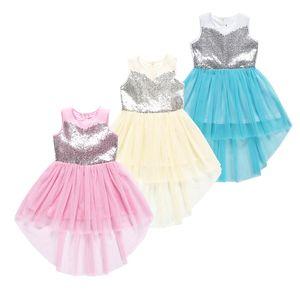 kids  clothes girls Sequin mesh Dress children sleeveless lace irregularity Princess dresses 2019 Summer fashion Kids Clothing C6808