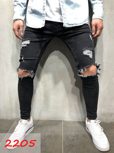 Shipping Skim Casual Denim Slim 2021 Jeans Knee High Hiphop Pants Washed Free Quality Hole Mens Uuode