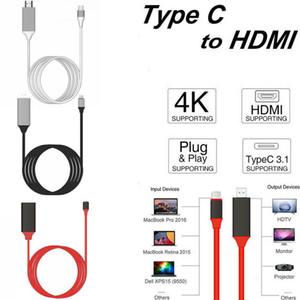 Tipo C a HDMI Cable USB 3.1 a HDMI 4K Alta velocidad HDTV Adaptador de HDMI para Macbook Samsung S8 galaxy S9