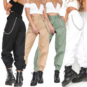 New Women's Tooling Trousers Solid Color Sports and Leisure Harem Pants Fashion Slim Wide-leg Pants with Chain XS-XXL