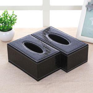 Tissue facial Box Cover PU Leather Hotel Car Retângulo Container Toalha Guardanapo Tissue Titular Caso Home Office Supplies 1PC