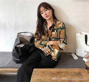 Femminile risvolto del collo magliette stilista chiffon con Button Abbigliamento Primavera Femminile Digital ha stampato la camicetta casual