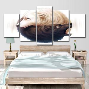 Yin et Yang Loups Art HD Impression 5 Pièce Toile Art 2 Loups Loup Peinture Image pour Salon Mur Art
