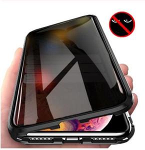 자기 강화 유리 개인 정보 보호 금속 케이스 아이폰 11Pro XR XS (11) 프로 MAX X 8 7 6 6S 플러스 360 자석 Antispy 보호 커버