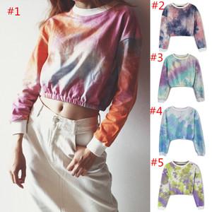 Abbindgefärbten Frauen-T-Shirt Regenbogen-Steigungs Crop Top Langarm-Shirts Frühlings-Herbst-Shirts Sweatshirt Mädchen Pullover Mode Tops Bekleidung
