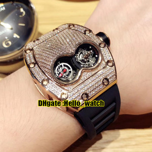 Дешевые новые двойные окна RM053 двойные окна Diamond Dialt 035 швейцарские кварцевые движения мужские часы розовый золотой чехол резиновый ремень высокое качество спортивные часы