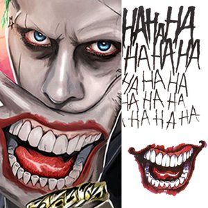 4 Styles Hot Sale Halloween Cosplay The Joker Temporary Tattoo Stickers Body Art Tattoos for Face Arm