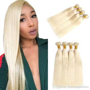 Hint düz insan Saç 3 Paketler% 100 Bal Düz insan saçı uzatma Sigara Remy örgü 613 Sarışın insan saçı