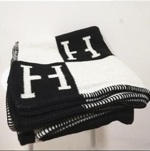 Cachemira manta de moda Marca H ins Bufanda de viaje grueso Carta cálida tejido de lana jacquard original volando siesta manta sofá toalla tapiz