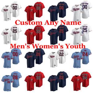 2020 Mens Baseball Jerseys Byron Buxton Jersey Miguel Sano Max Kepler Josh Donaldson Nelson Cruz Jorge Alcala Homer Bailey personalizado costurado