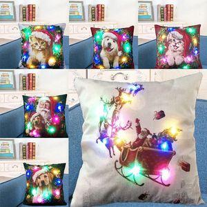 LED Işık Işık Yastık Kılıfı Keten Yastık Kapakları Minder Kapak Noel Baba Köpek Yastık Kanepe Araba Dekor DHL WX9-1504