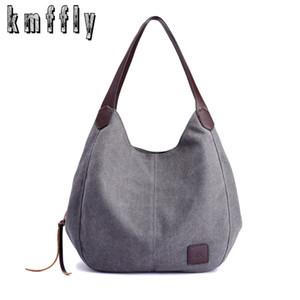 Kmffly 2018 Yeni Kadın Tuval Çanta Markaları Tasarımcı Kadın Moda Omuz Çantaları Bayanlar Tote Retro Boş Çanta Y19052801