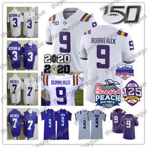 LSU النمور # 9 Burreaux Joe Burrow 3 Beckham Jr. 7 Mathie Purple White 2020 بطل الخوخ التصحيح 150th 125 مخيط NCAA Football Jersey