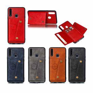 Cas de cuir rétro PU pour Samsung A20S S8 S9 S9 S10 Plus 3 Slot Slot Sam A10S Note 8 9 10 A50 Capa Capa Capa Couvercle