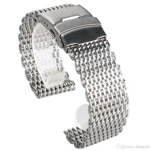 18 20 22 24mm Silver Mesh Stainless Steel Watchband Fold Over Clasp with Safety Strap Men Watch Replacement Bracelet