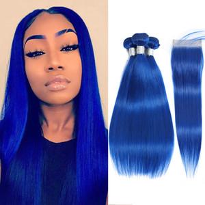 feixes azuis com fechamento Colorido brasileiro Cabelo Weave Pacotes com fecho Hetero Humano Pacotes cabelo e Encerramento Cabelo Remy