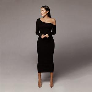 Femmes solides couleur Sexy Robes Bureau Lady manches longues Vêtements Femme Mode Brief Casual Robe moulante