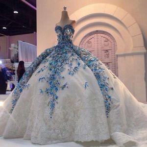 Vestidos de novia de encaje de cristal 2019 Apliques Cariño Cuentas preciosas Tren de la iglesia Tallas grandes Vestidos de baile de novia robe de mariage